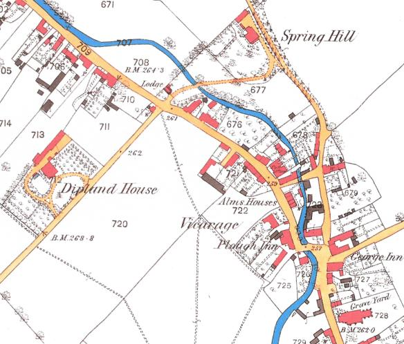 Spring Hill and Diplands Ordnance Survey Map 1875