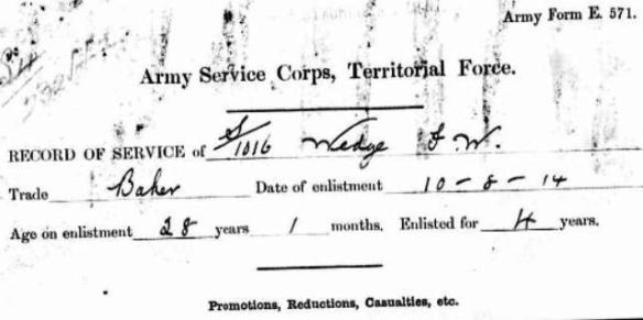 Enlisted 14 Aug 1914 FWW