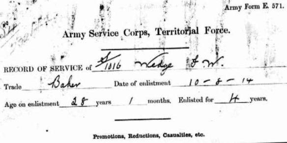 Enlisted 14 Aug 1914 FWW