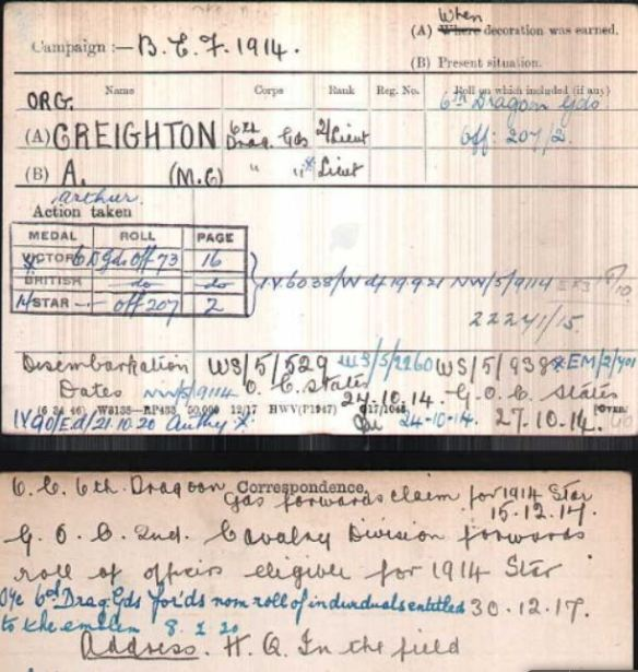 Medal card for Arthur Creighton